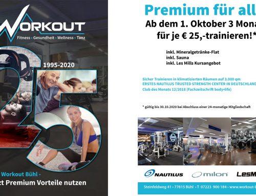 25 Jahre Workout Bühl-Jetzt Premium Vorteile nutzen