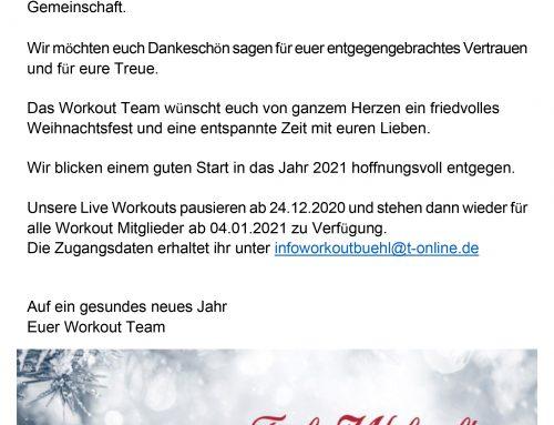 Das Workout wünscht frohe Weihnachten