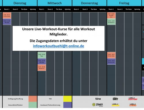 Aktueller Live-Workout-Kursplan